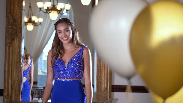 mixed race teenage girl wearing prom dress - 16 17 years stock videos & royalty-free footage