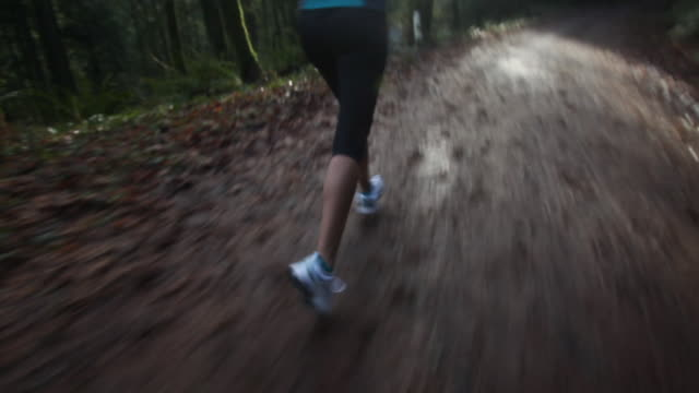 mixed race woman running on forest path - portland oregon stock videos & royalty-free footage