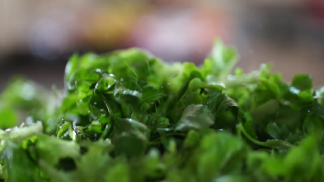 vídeos y material grabado en eventos de stock de ecu slo mo mixed salad leaves falling onto plate/ johannesburg/ south africa - ensalada