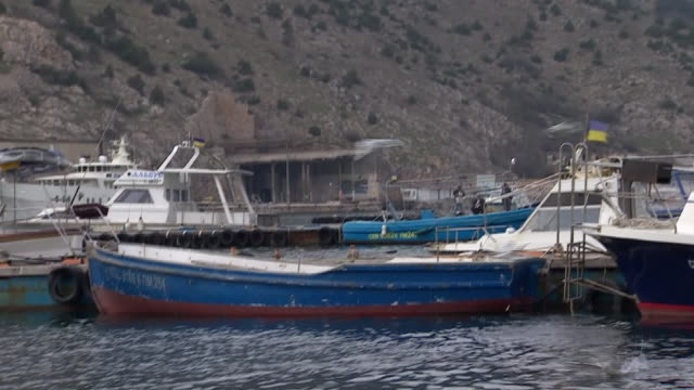 stockvideo's en b-roll-footage met mixed shots of balaclava harbour in the crimean city of sevastopol - koet