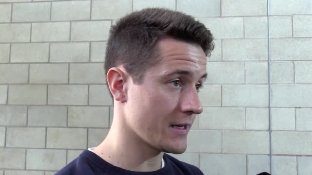 mixed zone interview with manchester united midfielder ander herrera ahead of the side's europa league final against ajax the spaniard says it is a... - final chance stock videos & royalty-free footage