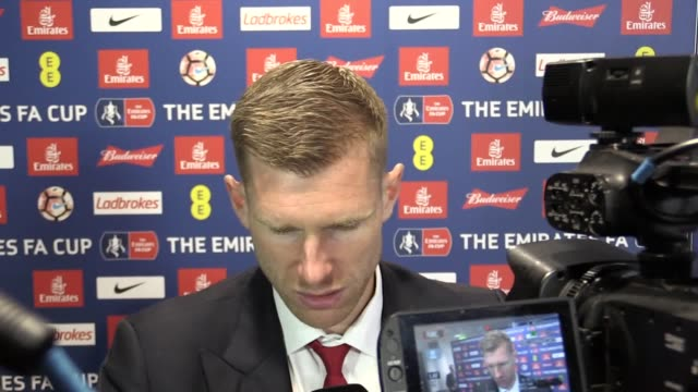 Mixed zone interview with Per Mertesacker who captained Arsenal in their FA Cup final win at Wembley against Chelsea