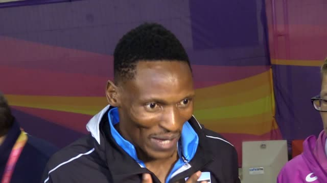 Mixed zone interviews with Botswana's Isaac Makwala and Nethaneel MitchellBlake after 200m semifinal at World Championships