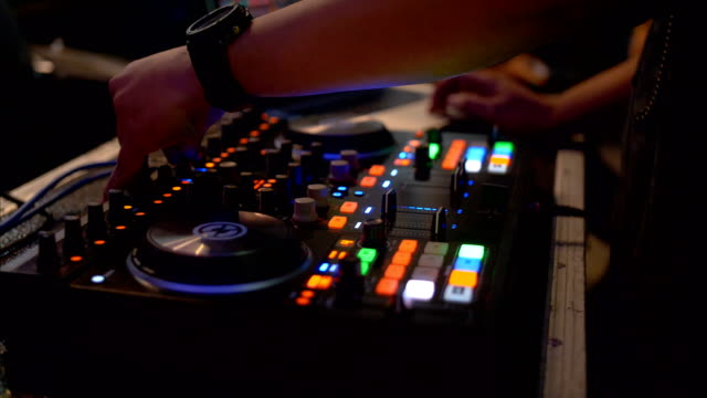 dj mixer in use at a party - record player stock videos & royalty-free footage