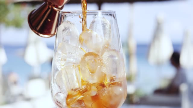 mixing a cocktail, corfu, greece - cocktail stock videos & royalty-free footage