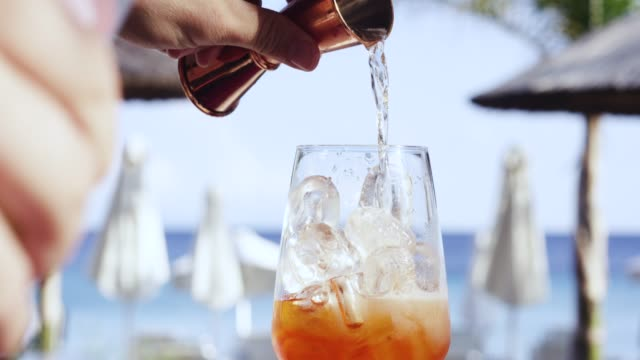 mixing a cocktail, corfu, greece - alcohol stock videos & royalty-free footage