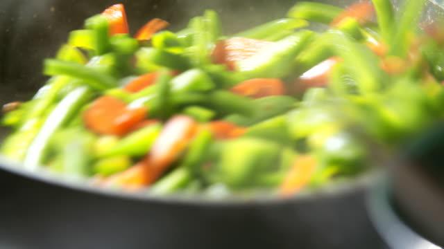 Mixing Fresh Vegetables on Pan