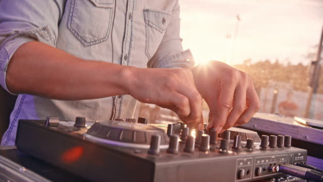 dj mixing in daytime concert - sound mixer stock videos & royalty-free footage