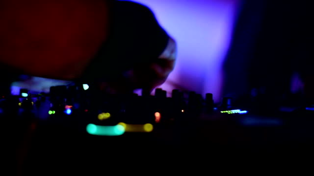 dj mixing music at club closeup. - club dj stock videos & royalty-free footage