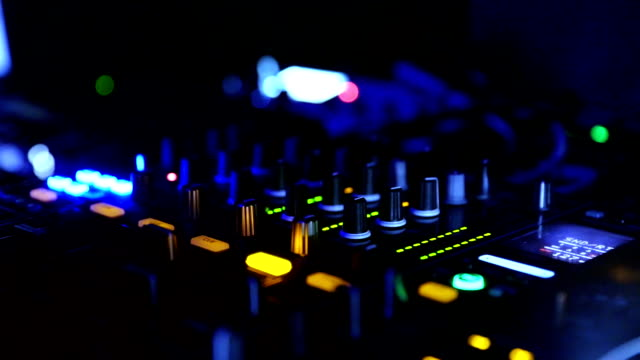 dj mixing music at club closeup. - techno music stock videos & royalty-free footage