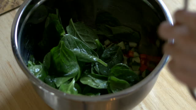 mixing salad - spinach salad stock videos & royalty-free footage