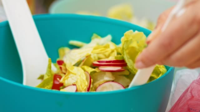 mixing vegetables salad - picnic stock videos and b-roll footage