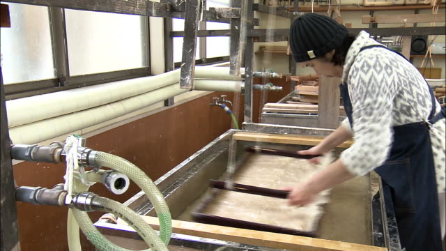 a miyama washi paper workshop, japan - navy blue stock videos & royalty-free footage
