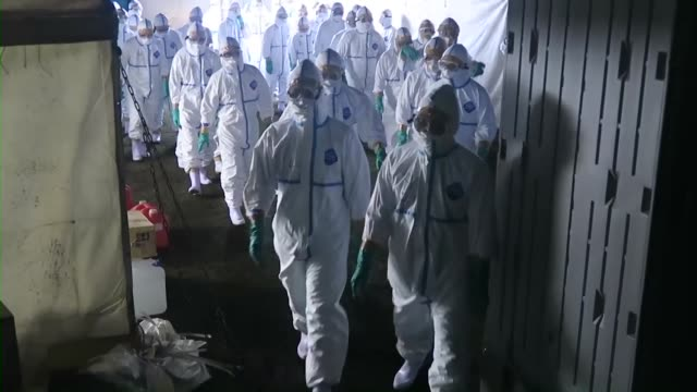 stockvideo's en b-roll-footage met japanese selfdefense force members head to a poultry farm in kawaminami miyazaki prefecture on dec 20 2016 to cull about 122000 chickens after a... - vogelpestvirus