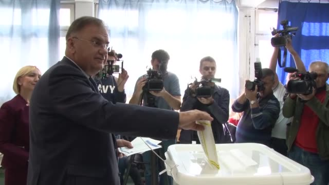 mladen ivanic, serb member of bosnia and herzegovina's tripartite presidency and candidate for the next term in office, casts his ballot in the... - banja luka stock videos & royalty-free footage