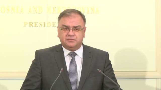 Mladen Ivanic the Chairman of the Presidency of Bosnia and Herzegovina holds a press conference in Sarajevo Bosnia and Herzegovina on February 14 2017