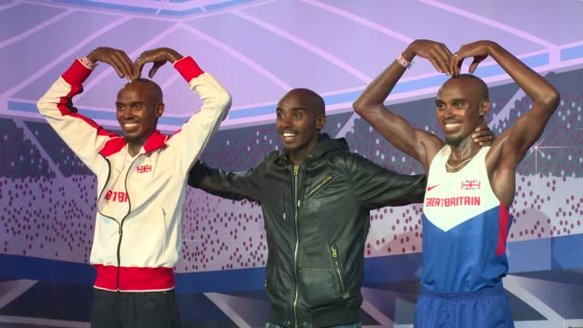 mo farah at mo farah wax figures at madame tussauds on april 14 2014 in london england - madame tussauds stock videos & royalty-free footage