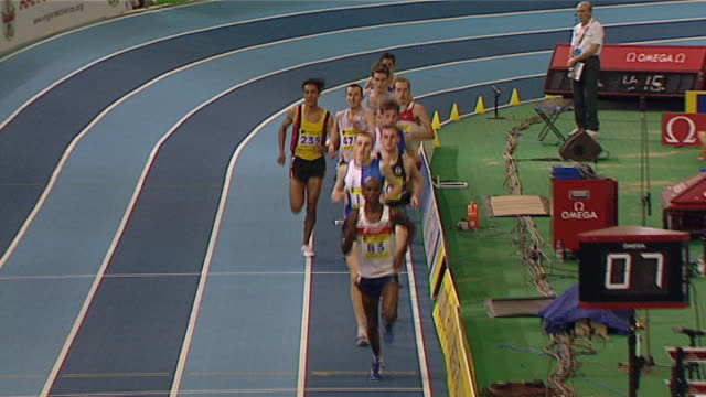 Mo Farah competes in the men's 3000m indoor final at the Aviva European Trails