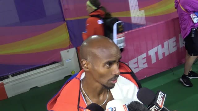 Mo Farah mixed zone after qualifying for 5000m final at World Championships