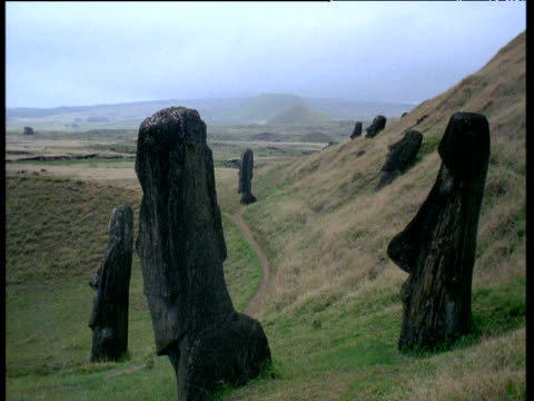 moai heads - polynesian culture stock videos & royalty-free footage