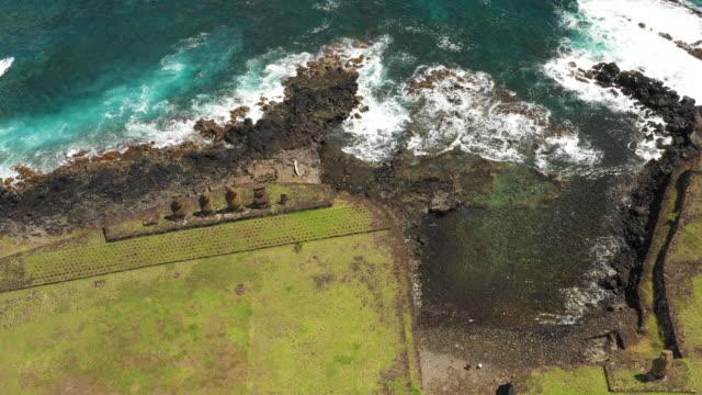 moai of ahu tahai (monolithic statues) in hanga roa town / easter island, chile - maui stock videos & royalty-free footage