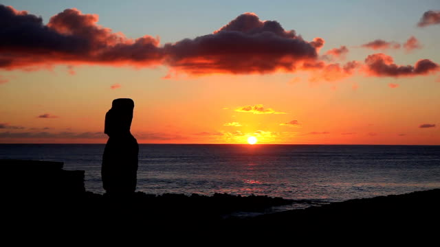 moai statue at sunset, easter island, chile - maui stock videos & royalty-free footage