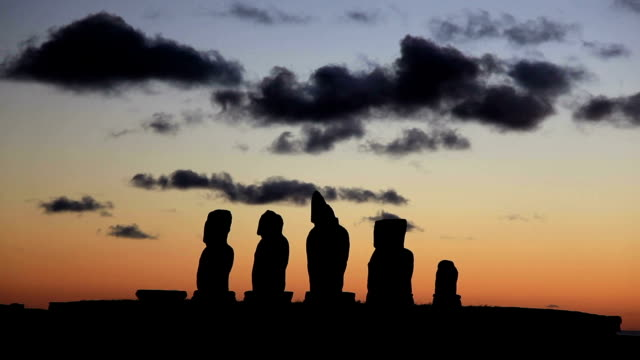 Moai Statue at Sunset Timelapse, Easter Island, Chile