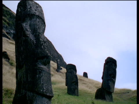 moai statue heads on easter island - polynesian culture stock videos & royalty-free footage