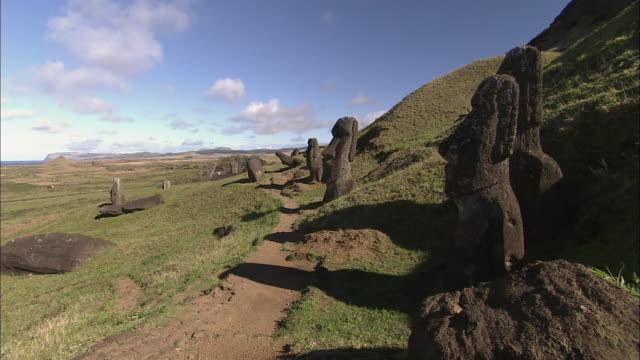 WS Moai statues along footpath / Easter Island, Chile