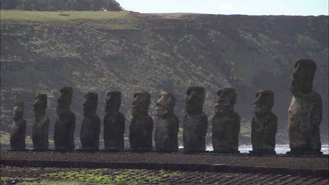 WS PAN Moai statues along footpath / Easter Island, Chile