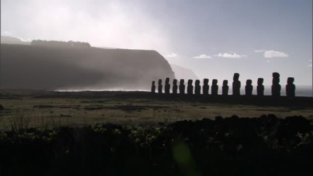 Moai statues on Ahu platform on rocky coast, Easter Island