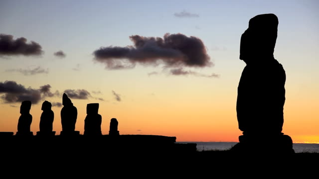 Moais at sunset, Easter Island, Chile