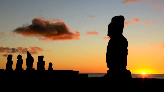 moais at sunset, easter island, chile - maui stock videos & royalty-free footage