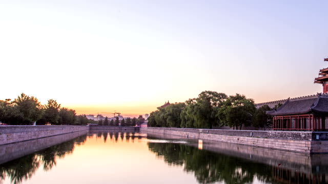 moat and the imperial palace in beijing,china.timelapse. - moat stock videos and b-roll footage