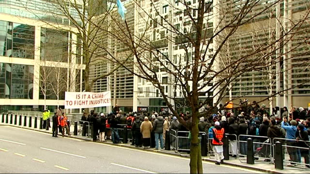 demonstration outside home office; england: london: home office: ext various shots of crowd of demonstrators protesting outside home office about the... - moazzam begg stock videos & royalty-free footage