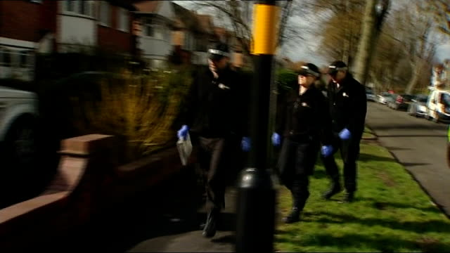 moazzam begg arrested on suspicion of attending a terrorist training camp; windows of house police officers along from van police officers arriving... - moazzam begg stock videos & royalty-free footage