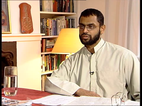 former guantanamo bay detainee england logo on screen moazzam begg interview sot i can't believe it's incomprehensible for me to think how they would... - moazzam begg stock videos & royalty-free footage