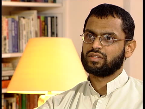 former guantanamo bay detainee moazzam begg interview sot yes / they were training in small arms/ i think they used kalashnikovs and small hand guns/... - moazzam begg stock videos & royalty-free footage
