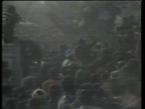 mob of iranians protest in favor of ayatollah khomeini and against the us government outside the american embassy in tehran. - 1979 stock videos & royalty-free footage