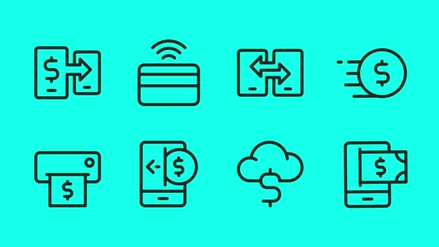 mobile banking and payment line icons - vector animate - electronic banking stock videos & royalty-free footage