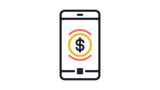 mobile banking line icon animation with alpha - computer graphic stock videos & royalty-free footage