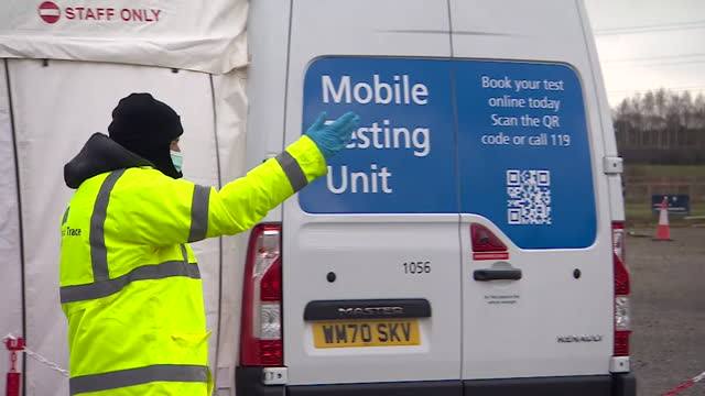 mobile covid-19 testing unit in worcester to try and quickly identify and isolate the south african variant of coronavirus - identity stock videos & royalty-free footage