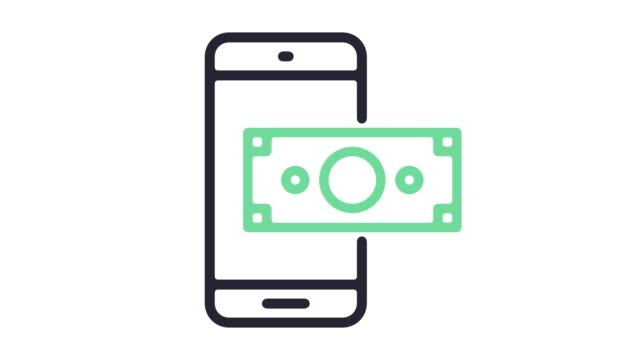 mobile payment system line icon animation with alpha - wallet stock videos & royalty-free footage