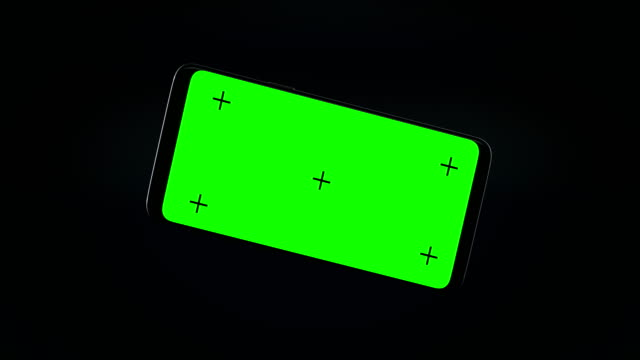 vídeos de stock e filmes b-roll de 3d mobile phone animation with track point and green screen - animação