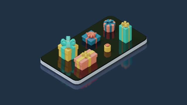 プレゼント付き携帯電話 - 投影図点の映像素材/bロール