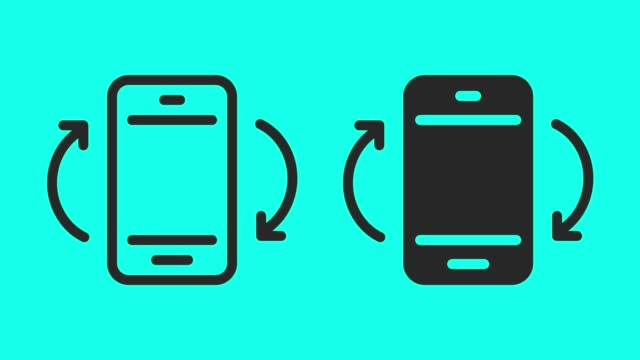 vídeos de stock e filmes b-roll de mobile screen rotation - vector animate - turning