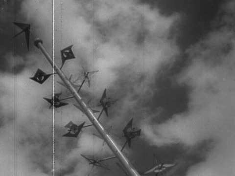 mobiles turn in the breeze outside the royal festival hall at the festival of britain site on the south bank - festival of britain stock videos & royalty-free footage