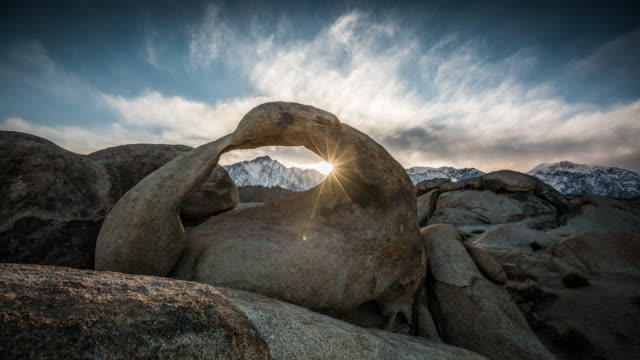 time lapse: mobius arch at alabama hills - arch architectural feature stock videos and b-roll footage
