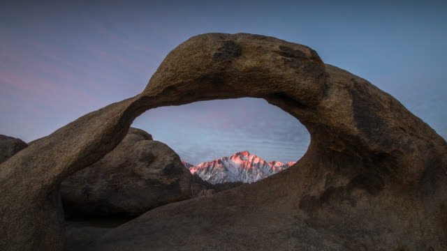 time lapse: mobius arch sunrise - arch architectural feature stock videos and b-roll footage