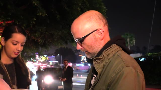 moby greets fans while departing vanity fair's campaign hollywood at the chateau marmont in los angeles in celebrity sightings in los angeles, - モービー点の映像素材/bロール